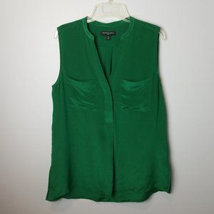Banana Republic Green Silk Sleeveless Tank Shirt M